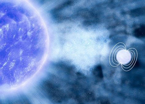 A clump of matter from a blue supergiant star (left) heads toward a companion neutron star, depicted with its strong magnetic field lines.